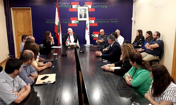كبارة رأس اجتماعا اداريا في الوزارة: خلق فرص العمل للبنانيين من اولوياتنا