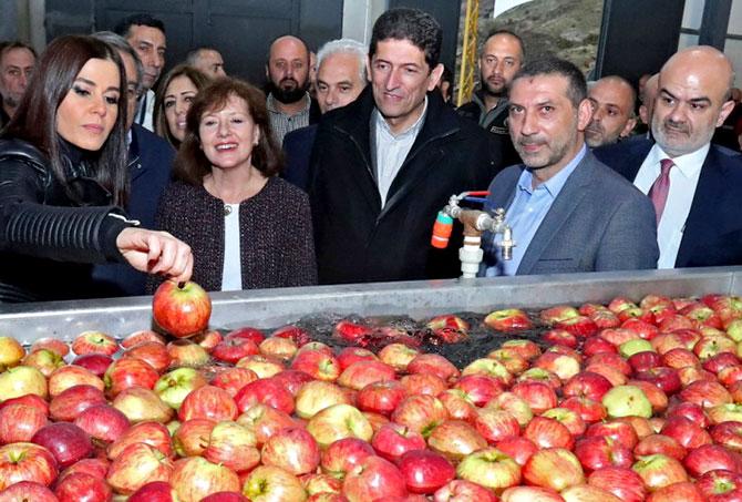 ريتشارد تفتتح معمل فرز التفاح في بيت منذر: 3 ملايين دولار مساهمات أميركية لدعم الزراعة