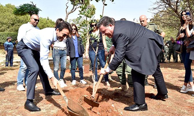 شبيب يشرف على زرع أغراس أشجار في حرج بيروت