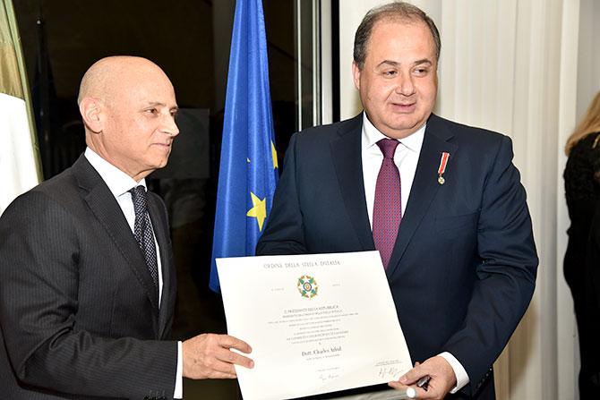 السفير الايطالي يكرم رئيس المجلس الاقتصادي الاجتماعي شارل عربيد