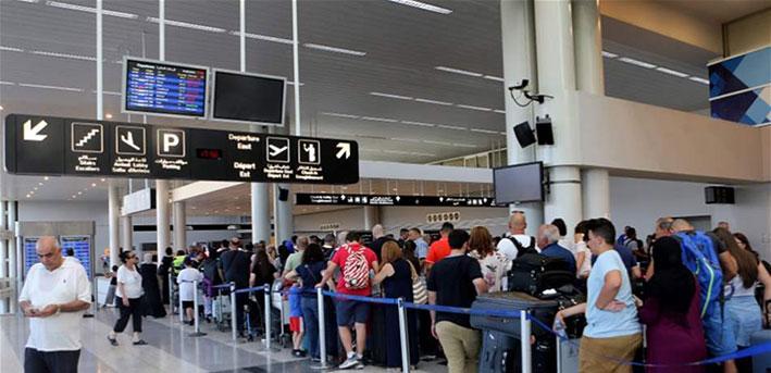 تراجع حركة المسافرين والاستيراد  والتصدير عبر المطار في ك1 2019