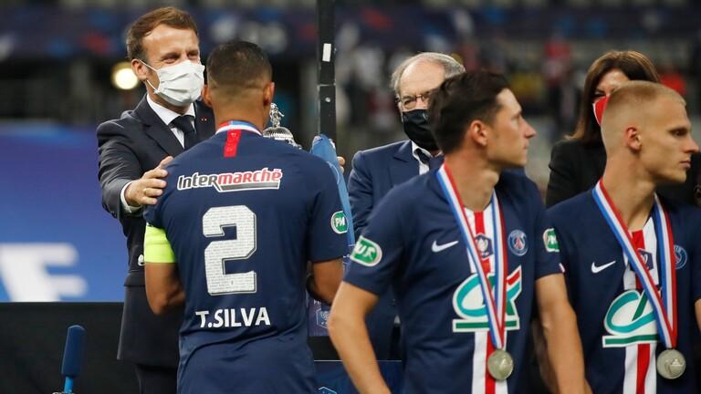 الرئيس الفرنسي يساند باريس سان جيرمان عقب الخسارة